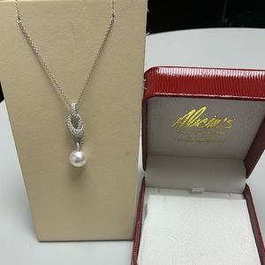 Jewelry - 18K White Gold White Pearl Diamond Necklace